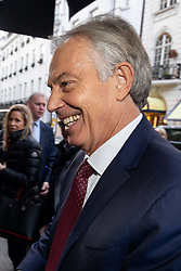 © Licensed to London News Pictures. 29/01/2019. London, UK. Former British Prime Minister Tony Blair arrives at The Royal Institution of Great Britain to speak at the launch of the Edelman Trust Barometer 2019. The report documents shifts in people's trust in areas such as politics and media. Photo credit : Tom Nicholson/LNP