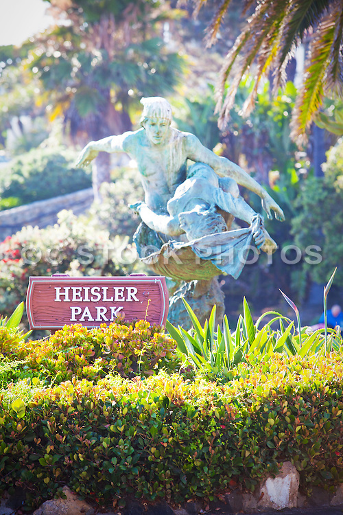 Heisler Park Sculpture and Sign in Laguna Beach California