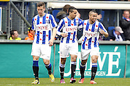 Onderwerp/Subject: SC Heerenveen - Eredivisie<br /> Reklame:  <br /> Club/Team/Country: <br /> Seizoen/Season: 2012/2013<br /> FOTO/PHOTO: Yassine El GHANASSI (C) of SC Heerenveen celebrating his goal with Pele VAN ANHOLT (R) of SC Heerenveen and Jukka RAITALA (L) of SC Heerenveen ( 1 - 1 ). (Photo by PICS UNITED)<br /> <br /> Trefwoorden/Keywords: <br /> #02 $94 ±1355241558607<br /> Photo- & Copyrights © PICS UNITED <br /> P.O. Box 7164 - 5605 BE  EINDHOVEN (THE NETHERLANDS) <br /> Phone +31 (0)40 296 28 00 <br /> Fax +31 (0) 40 248 47 43 <br /> http://www.pics-united.com <br /> e-mail : sales@pics-united.com (If you would like to raise any issues regarding any aspects of products / service of PICS UNITED) or <br /> e-mail : sales@pics-united.com   <br /> <br /> ATTENTIE: <br /> Publicatie ook bij aanbieding door derden is slechts toegestaan na verkregen toestemming van Pics United. <br /> VOLLEDIGE NAAMSVERMELDING IS VERPLICHT! (© PICS UNITED/Naam Fotograaf, zie veld 4 van de bestandsinfo 'credits') <br /> ATTENTION:  <br /> © Pics United. Reproduction/publication of this photo by any parties is only permitted after authorisation is sought and obtained from  PICS UNITED- THE NETHERLANDS