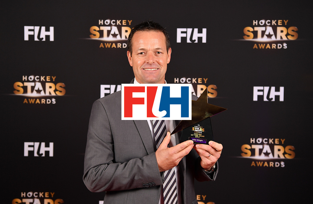 BERLIN, GERMANY - FEBRUARY 05:  John Wright  of South Africa with his male umpire of the year award during the Hockey Star Awards night at Stilwerk on February 5, 2018 in Berlin, Germany.  (Photo by Stuart Franklin/Getty Images For FIH)