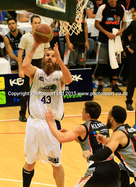Ranger's Casey Frank puts up a shot. NBL basketball, Hawkes Bay Hawks  v Super City Rangers, PG Arena, Napier, New Zealand. Saturday, 18 April, 2015. Copyright photo: John Cowpland / www.photosport.co.nz