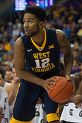 FORT WORTH, TX - JANUARY 4: Tarik Phillip #12 of the West Virginia Mountaineers drives to the basket against the TCU Horned Frogs on January 4, 2016 at Ed and Ray Schollmaier Arena in Fort Worth, Texas.  (Photo by Cooper Neill/Getty Images) *** Local Caption *** Tarik Phillip