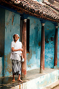 INDIA. House front in the Muslim part of town. Nagapattinam. Tamil Nadu state
