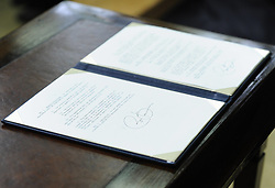 U.S. President Barack Obama's signature is seen on one of the 23 executive orders on gun violence he signed during an event at the White House in Washington D.C., United States, Jan 16, 2013. Obama on Wednesday unveiled a sweeping and expansive package of gun violence reduction proposals, a month after the Sandy Hook Elementary School mass shooting killed 26 including 20 schoolchildren, January 16, 2013. Photo by Imago / i-Images...UK ONLY