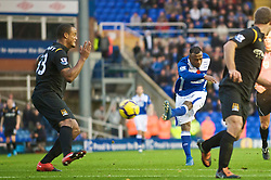 BIRMINGHAM, ENGLAND - Sunday, November 1, 2009: Birmingham City's Cristian 'Chucho' Benitez hits the post with a shot during the Premiership match against Manchester City at St Andrews. (Pic by David Rawcliffe/Propaganda)