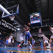 Delaware 87ers Forward Rahlir Hollis-Jefferson (15) has the ball strip from his hand by Grand Rapids Drive Forward Adonis Thomas (14) defends in the first half of a NBA D-league regular season basketball game between the Delaware 87ers and the Grand Rapids Drive (Detroit Pistons) Saturday, Apr. 04, 2015 at The Bob Carpenter Sports Convocation Center in Newark, DEL.