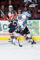 KELOWNA, CANADA, FEBRUARY 11: Zach Franko #9 of the Kelowna Rockets skates with the puck as the Kamloops Blazers visit the Kelowna Rockets on February 11, 2012 at Prospera Place in Kelowna, British Columbia, Canada (Photo by Marissa Baecker/Shoot the Breeze) *** Local Caption ***
