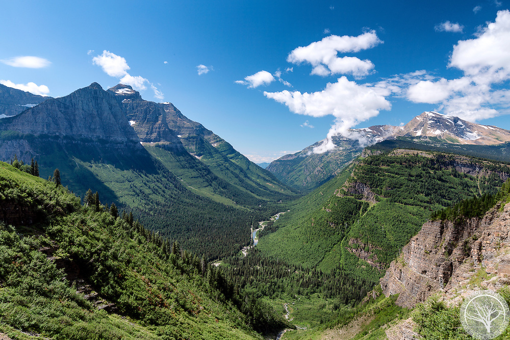 View of the mountains and McDonald Creek valley, from Going-to-the-Sun Road, Glacier National Park, Montana