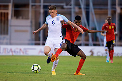 AUBAGNE, FRANCE - Monday, May 29, 2017: England's Harvey Barnes and Angola's Nelson Miango Mudile Mona during the Toulon Tournament Group A match between England U18 and Angola U20 at the Stade de Lattre-de-Tassigny. (Pic by David Rawcliffe/Propaganda)