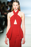 Sanne Vloet walks the runway wearing Cushnie et Ochs Fall 2016, hair by Antonio Corral Calero for Moroccanoil, makeup by Val Garland, photographed by Thomas Concordia during New York Fashion Week on February 12, 2016