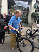 "EXCLUSIVE<br /> <br /> Woody Harrelson rides a bike rather than use a VIP Limousine<br /> <br /> As Woody Harrelson leaves an event at the Zurich Film Festival a Limousine and driver are waiting for him. But the Hollywood star has other ideas. He says:  ""I don't need this fancy shit! Let's take the bike!"" And he did just that, he rode a bike through the Zurich inner city much to the surprise of passers-by. Zurich, Switzerland<br /> ©Exclusivepix Media"