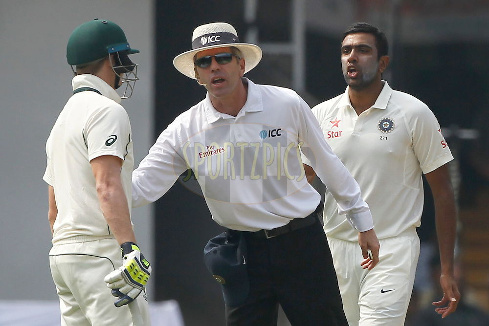 Steven Smith Captain of Australia words with Ravichandran Ashwin of India during day two of the second test match between India and Australia held at the M Chinnaswamy Stadium in Bangalore on the 5th March 2017. <br /> <br /> Photo by: Deepak Malik / BCCI/ SPORTZPICS