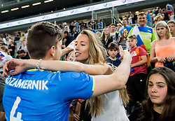 Jan Kozamernik of Slovenia with his girlfriend during volleyball match between National teams of Slovenia and Portugal in 2nd Round of 2018 FIVB Volleyball Men's World Championship qualification, on May 26, 2017 in Arena Stozice, Ljubljana, Slovenia. Photo by Vid Ponikvar / Sportida