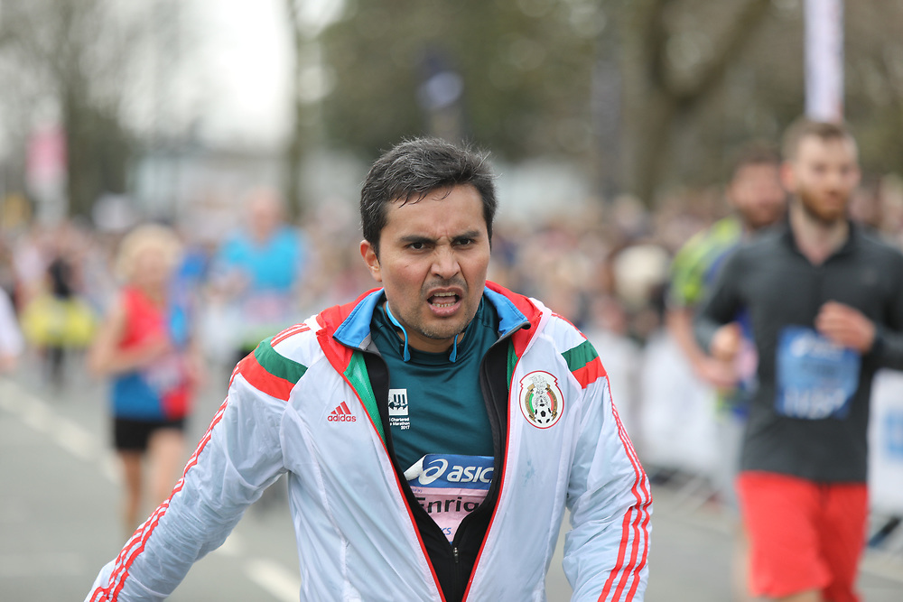 Manchester UK  08.04.2018L: Images from Manchester Marathon, where  10k Runners  completed a  course of 26.6 miles around the streets of  Manchester. Runners were scene.<br /> <br /> Images show exhausted runners crossing the finishing line many needing medial attention<br /> Credit Should Read  UK News Media