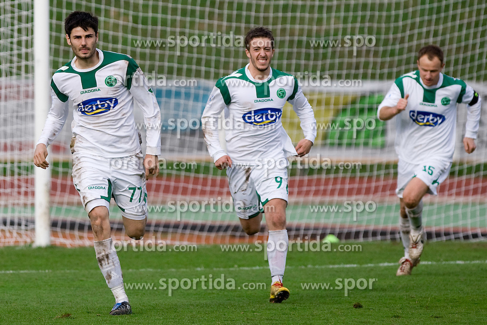 Milan Purovic, Agim Ibraimi and Davor Skerjanc of Olimpija celebrate at football match of 28th Round of 1st Slovenian League  between NK Interblock and NK Olimpija, on March 27, 2010, in ZAK Stadium, Ljubljana, Slovenia. Interblock defeated Olimpija 2-1. (Photo by Vid Ponikvar / Sportida)