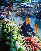 One of three floating markets in Damnoen Saduak situated on this canal in Thailand near Bangkok.