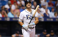 September 16, 2017 - St. Petersburg, Florida, U.S. - WILL VRAGOVIC   |   Times.Tampa Bay Rays center fielder Kevin Kiermaier (39) reacts after striking out in the fourth inning of the game between the Boston Red Sox and the Tampa Bay Rays at Tropicana Field in St. Petersburg, Fla. on Saturday, Sept. 16, 2017. (Credit Image: © Will Vragovic/Tampa Bay Times via ZUMA Wire)