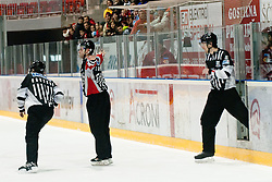 Referees repeal the game-tying  goal by Brock McBride at the last seconds of the game during ice-hockey match between HK Acroni Jesenice and HDD Tilia Olimpija in 34th Round of EBEL league, on December 26, 2011 at Dvorana Podmezaklja, Jesenice, Slovenia. HK Acroni Jesenice defeated HDD Tilia Olimpija 5:4. (Photo By Matic Klansek Velej / Sportida)