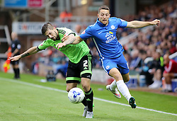 Conor Washington of Peterborough United battles with Kieron Freeman of Sheffield United - Mandatory byline: Joe Dent/JMP - 07966386802 - 18/08/2015 - FOOTBALL - ABAX Stadium -Peterborough,England - Peterborough United v Sheffield United - Sky Bet League One
