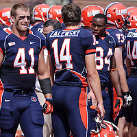 Illinois FB Zach Becker #41 on the sidelines during the Illinois vs Charleston Southern game at Memorial Stadium, Champaign, Illinois, September 15, 2012. George Strohl/AI Wire.