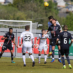Gregor Buchanan heads clear during the Dumbarton v Falkirk Scottish Championship 06 May 2017<br /> <br /> <br /> <br /> <br /> <br /> (c) Andy Scott | SportPix.org.uk