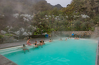 Los Termales  , Colombia  - February 19, 2017 :  people bathing in the hot springs of Hotel Spa Los Termales Caldas in Colombia South America