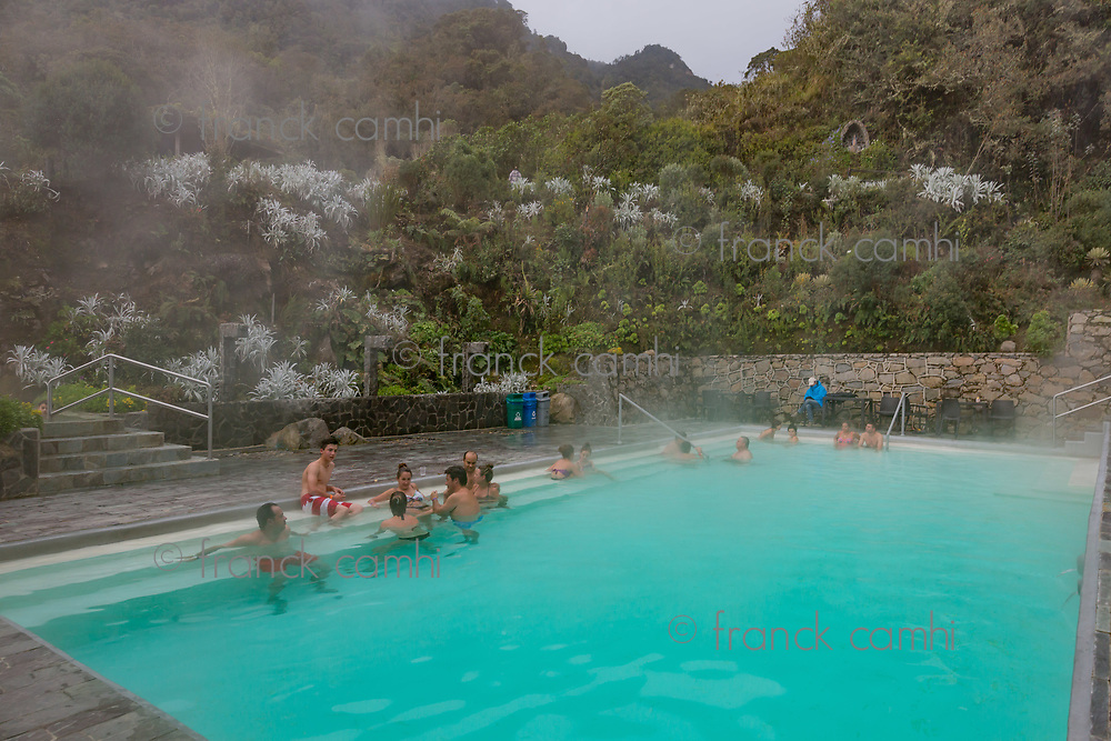 Los Termales  , Colombia  - February 19, 2017 :  people bathing in the hot springs of Hotel Spa Los Termales Caldas in Colombia South America