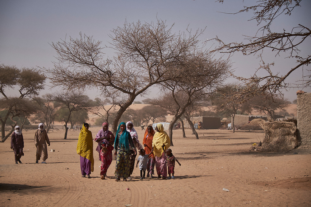 in the village of Guidan Kaji near the border with Nigeria on the outskirts of Diffa, Niger on February 13, 2016. Displaced people from Niger and Nigeria are sheltering in the village after fleeing at the nearby border. Many of the families had witnessed attacks by Boko Haram in their villages or had fled because of other villages around them being attacked. Caritas undertook a distribution of sleeping covers, mosquito nets, pots and money transfers.