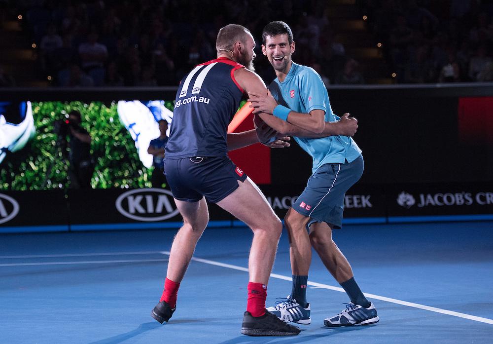 A Night with Novak ahead of the 2017 Australian Open at Melbourne Park on January 11, 2017 in Melbourne, Australia.<br /> (Ben Solomon/Tennis Australia)