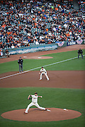 San Francisco Giants starting pitcher Matt Moore (45) pitches to the Chicago Cubs during Game 4 of the NLDS at AT&T Park in San Francisco, Calif., on October 11, 2016. (Stan Olszewski/Special to S.F. Examiner)