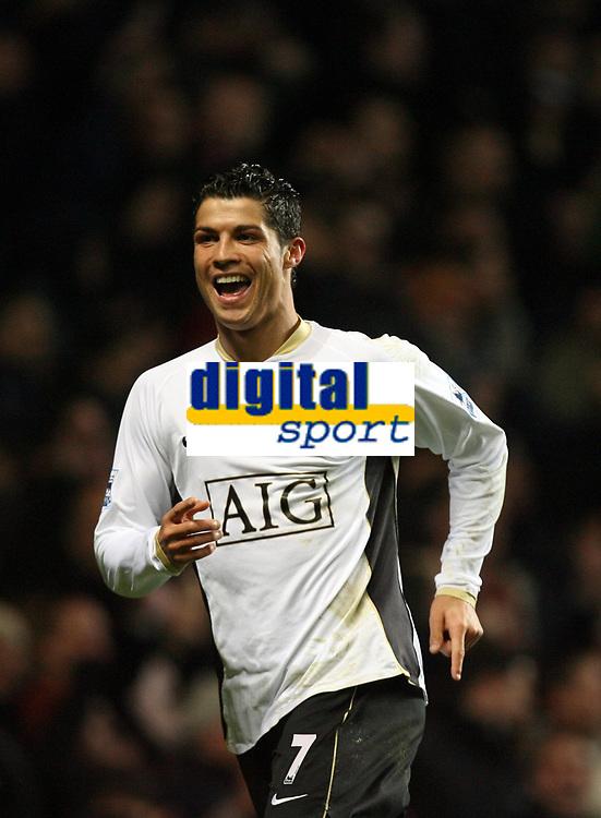 Photo: Rich Eaton.<br /> <br /> Aston Villa v Manchester United. The Barclays Premiership. 23/12/2006. Cristiano Ronaldo celebrates scoring his 2nd goal to make the score 3-0
