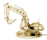 X-ray image of an excavator (color on white) by Jim Wehtje, specialist in x-ray art and design images.
