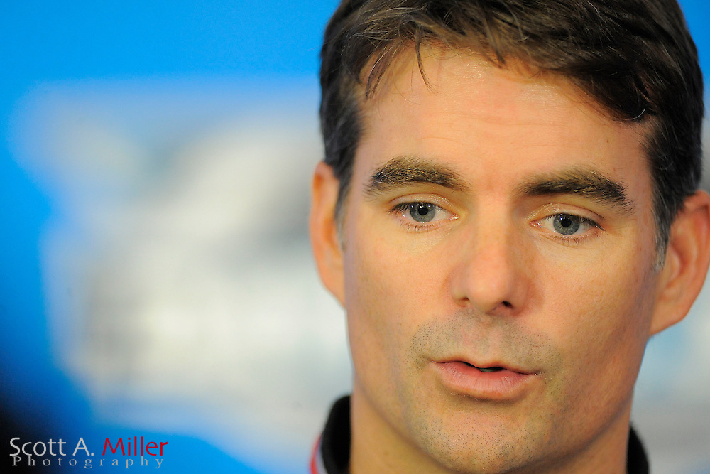 Driver Jeff Gordon during NASCAR media prior to the Daytona 500 at Daytona International Speedway on Feb 16, 2012 in Daytona Beach, Fla. ..©2012 Scott A. Miller