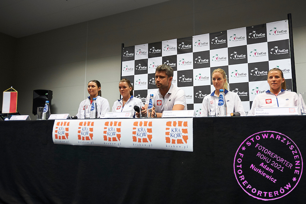 (L-R) Klaudia Jans Ignacik and Agnieszka Radwanska and trainer coach Tomasz Wiktorowski and Urszula Radwanska and Alicja Rosolska all from Poland during official press conference three days before the Fed Cup / World Group 1st round tennis match between Poland and Russia at Krakow Arena on February 4, 2015 in Cracow, Poland<br /> Poland, Cracow, February 4, 2015<br /> <br /> Picture also available in RAW (NEF) or TIFF format on special request.<br /> <br /> For editorial use only. Any commercial or promotional use requires permission.<br /> <br /> Mandatory credit:<br /> Photo by &copy; Adam Nurkiewicz / Mediasport