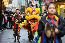 © Licensed to London News Pictures. 25/01/2020. London, UK. Chinese Lion Dancers in London's China Town as <br /> Chinese and non-Chinese community celebrates Chinese New Year, the Year of the Rat. Photo credit: Dinendra Haria/LNP