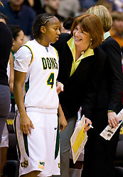 December 22, 2009; San Francisco, CA, USA;  San Francisco Dons head coach Tanya Haave talks with guard Brittany Brumfield (4) during the first half against the Tennessee Lady Volunteers at War Memorial Gym.  Tennessee defeated San Francisco 89-34.