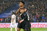 GOAL -Juan Bernat of Paris Saint-Germain celebrates his goal 1-1 with Presnel Kimpembe of Paris Saint-Germainduring the Champions League Round of 16 2nd leg match between Paris Saint-Germain and Manchester United at Parc des Princes, Paris, France on 6 March 2019.