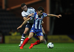 Alan Browne of Preston North End (L) and Jordi Gomez of Wigan Athletic in action - Mandatory by-line: Jack Phillips/JMP - 23/09/2016 - FOOTBALL - Deepdale - Preston, England - Preston North End v Wigan Athletic -  EFL Sky Bet Championship