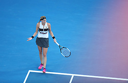 MELBOURNE, Jan. 26, 2019  Petra Kvitova of the Czech Republic reacts during the women's singles final match between Naomi Osaka of Japan and Petra Kvitova of the Czech Republic at 2019 Australian Open in Melbourne, Australia, Jan. 26, 2019. Naomi Osaka won 2-1. (Credit Image: © Bai Xuefei/Xinhua via ZUMA Wire)