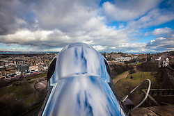Princes Street seen from the barrel of The One O'Clock Gun on the Edinburgh Castle Esplanade.