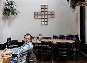Switzerland, Zurich: the Rote Fabrik restaurant, Ziegel oh Lac. Swiss cross made of  ( fake) gold bars