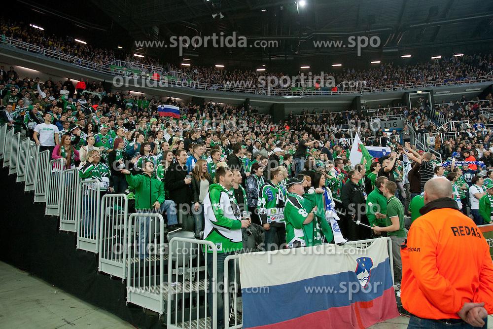 Fans of Olimpija during ice-hockey match between KHL Medvescak Zagreb and HDD Tilia Olimpija in 43rd Round of EBEL league, on Januar 17, 2012 at Arena Zagreb, Zagreb, Croatia. (Photo By Matic Klansek Velej / Sportida)