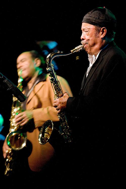 Nederland. Rotterdam, 14 juli 2007.<br /> North Sea Jazz festival. Benny Golson en Johnny Griffin (rechts in beeld).<br /> Foto Martijn Beekman <br /> NIET VOOR TROUW, AD, TELEGRAAF, NRC EN HET PAROOL