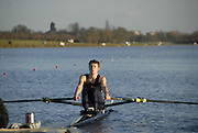 Eton, GREAT BRITAIN,  Richard DUNLEY, LM1X, rows away from the Start, GB Trials 3rd Winter assessment at,  Eton Rowing Centre, venue for the 2012 Olympic Rowing Regatta, Trials cut short due to weather conditions forecast for the second day Sunday  13/02/2011   [Photo, Karon Phillips/Intersport-images]