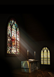 Interior of a dark church with a stained glass window beaming light upon the altar