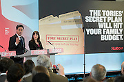 Ed Miliband, Ed Balls and Rachel Reeves event addressing the Tory threat to family finances. Royal Institute of British Architects, London, UK 29 Apr 2015.