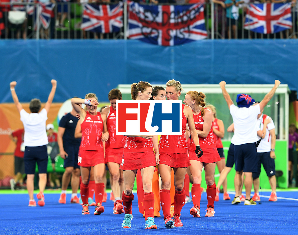 Britain's players celebrate after winning the women's semifinal field hockey New Zealand vs Britain match of the Rio 2016 Olympics Games at the Olympic Hockey Centre in Rio de Janeiro on August 17, 2016. / AFP / MANAN VATSYAYANA        (Photo credit should read MANAN VATSYAYANA/AFP/Getty Images)