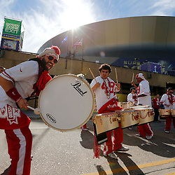 Feb 3, 2013; New Orleans, LA, USA; Members of the band Niner Noise perform outside before Super Bowl XLVII between the San Francisco 49ers and the Baltimore Ravens at the Mercedes-Benz Superdome. Mandatory Credit: Derick E. Hingle-USA TODAY Sports