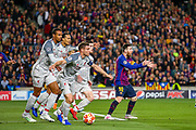 Barcelona forward Lionel Messi (10) appeals for handball during the Champions League semi-final leg 1 of 2 match between Barcelona and Liverpool at Camp Nou, Barcelona, Spain on 1 May 2019.
