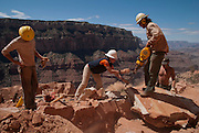 Workers repair switchbacks along the Kaibab Trail, South Rim. Grand Canyon National Park, Arizona.